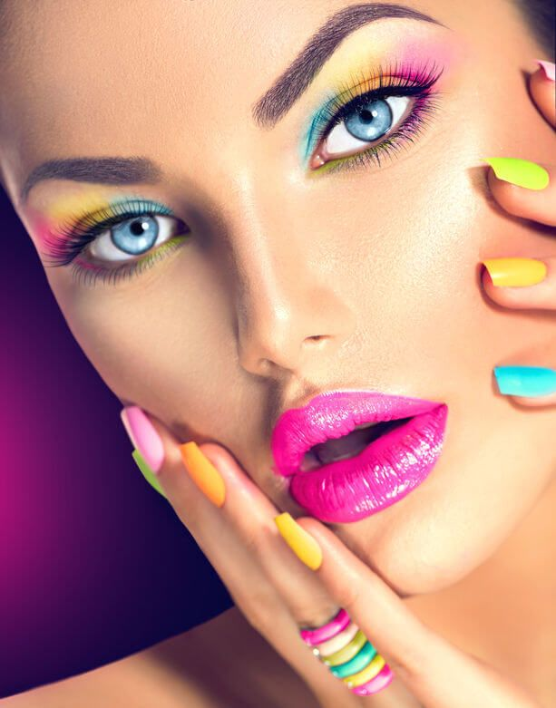 colorful-makeup woman