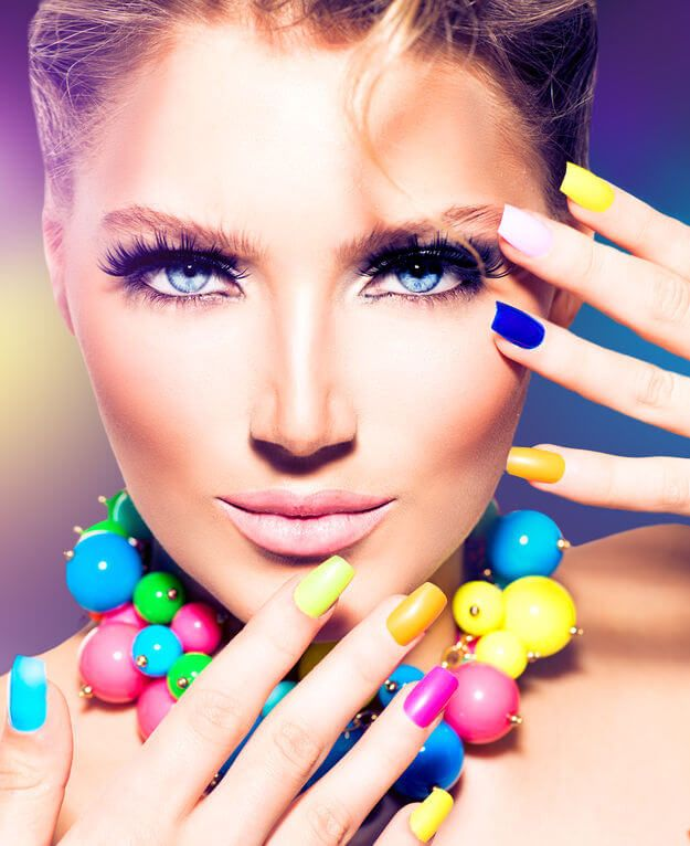 colorful-makeup face and nails
